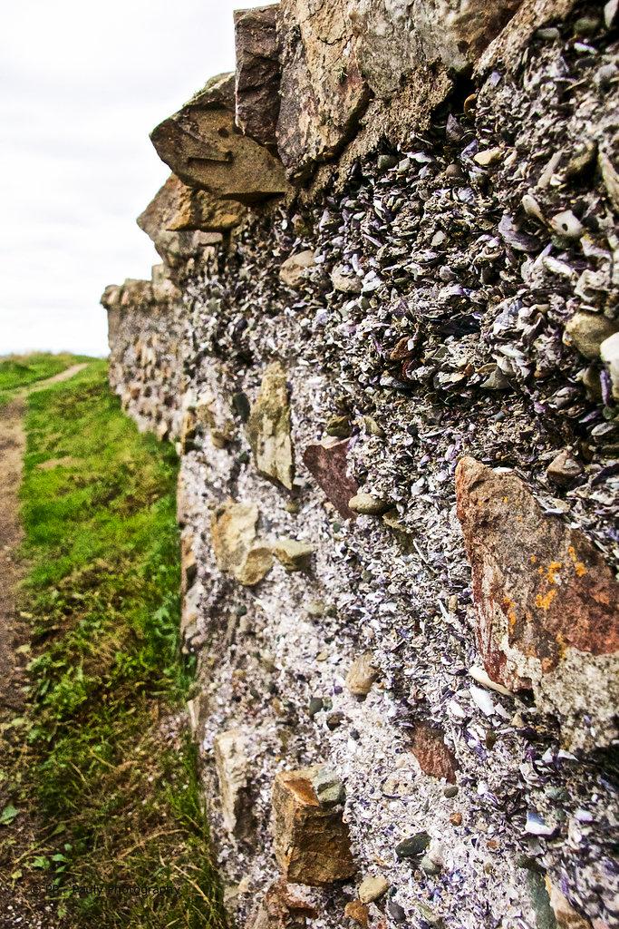 Eine Mauer aus Muschel und Sandstein